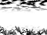 草原と空 白黒