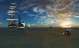 解体されるために最後の停泊地に曳かれてゆくモブフリゲート号
