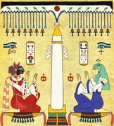 オベリスクがそびえ立ち、それを両側から二女神が祝福する