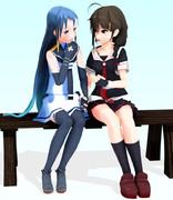 【習作Ⅱ】麗しい姉妹愛<時雨・五月雨>【MMDで日常絵の練習】