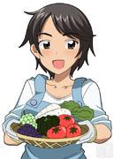 野菜収穫娘