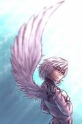 片翼の白鷺