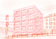 【二色絵】坂道の古びたアパート