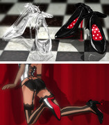 【MMDアクセサリ配布】ガラスの靴とリボンのハイヒール