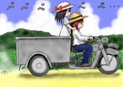 少女とオート三輪