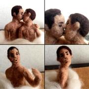 羊毛フェルト幸せなキス