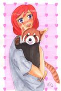 【まる週間】まきちゃんとレッサーパンダ【お題でお絵かき】