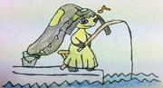 魚釣りをするクチート