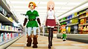 【MMD】リンクの訪問、スーパーにて