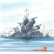 室蘭港内で係留中の連邦軍巡洋戦艦「チャイダム」