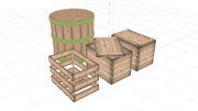 MMDアクセサリ(木箱・樽)