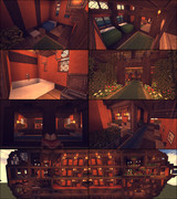 【Minecraft】空飛ぶホテル内装・断面図