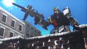 市街戦の陸戦型ガンダム