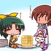 ホットケーキを食べるなおちゃん