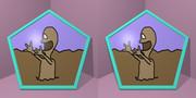 立体視画像102「泥田坊(どろたぼう)の五角形コースター」