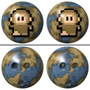 立体視画像116「ドット猿のボウリングボール」
