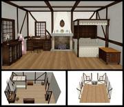 暖炉のある寝室