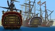 停泊中の3隻の戦列艦