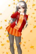 銀杏と秋の厚着な榛名