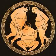 杯の内側に描かれた、3人の力士の訓練風景