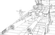 塗り絵・アシガラ&20cm連装砲2番砲