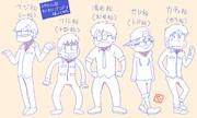 おそ松さん風にわくわくバンドのメンバーを描いてみたよ。