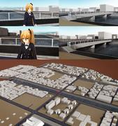 街モデル(地面のみできてる)をMMDに持ってきてみました。