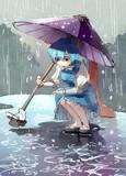 水たまりと小傘