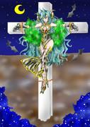 【依頼絵】「白猫のグローザ様 十字架に磔」