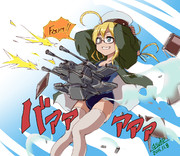 シュトロハイムポーズで20mm連装砲を撃つ8ちゃん
