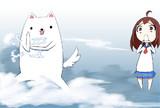 犬とビックリ少女