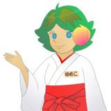 JR8DAGのAM & QRP ホームページのイメージキャラクターのゆめこ(巫女服)