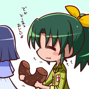 でかいドーナツを食べるなおちゃん