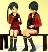【習作Ⅱ】最上・三隈姉妹と借りてきたカメラ【MMDで日常絵の練習】