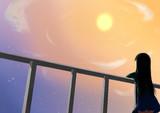黄昏の夕日