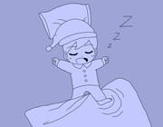 もう朝なのにまだ爆睡中のまめすけくん