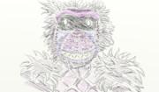 神社に奉納された絵馬の猿のキャラ描いてみた