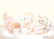 赤ちゃんと仔犬と仔猫
