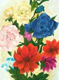 アクリルで花描いた