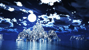 【MMDステージ配布】月夜の氷山 KK8【スカイドーム】