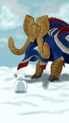 雪だるま遊び中のガムート