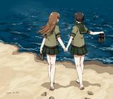 2人の砂浜