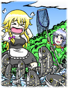 川辺のまりなにつられて集まってくるイワナを獲ろうとする釣りキチおばさん
