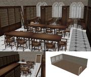 本棚と石壁の部屋