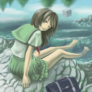 修行中-水辺とセーラー服描いてみた