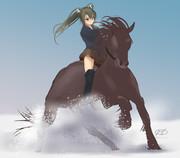 雪・瑞鶴の馬遊び