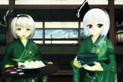 和菓子と緑茶と半霊と