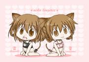 雷電姉妹に猫ランジェリーを着せてみた。