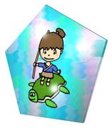 浦島太郎と亀の五角形コースター
