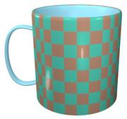 チェック模様のマグカップ